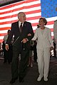 US Navy 030712-N-2383B-260 Vice President Dick Cheney and Mrs. Nancy Reagan walk through the hangar bay of the Navy's newest nuclear-powered aircraft carrier USS Ronald Reagan (CVN 76), at the conclusion of the carrier's commis.jpg