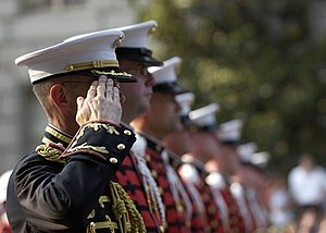 United States Marine Band - Members of the Marine Band escorting the remains of President Ronald Reagan to the Capitol Rotunda during his state funeral held in June 2004.