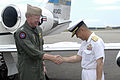 US Navy 040623-N-6997B-001 Commander, U.S. Seventh Fleet Vice Adm. Robert Willard, is greeted by Commandant Ohminato Naval District Vice Adm. M Eiji Yoshikawa upon his arrival at Misawa Air Base.jpg