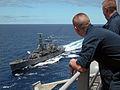 US Navy 040624-N-6843I-005 Chilean Leander-class frigate CS Lynch (PFG 07) pulls alongside the amphibious assault ship USS Tarawa (LHA 1).jpg
