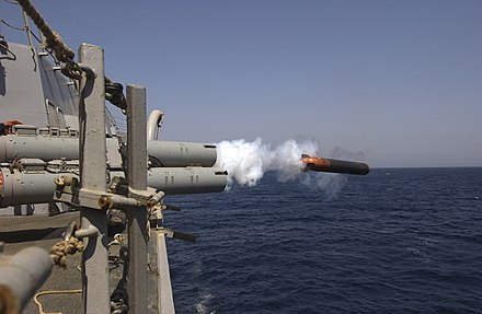 The launch of a torpedo using lithium as fuel US Navy 040626-N-5319A-006 An Anti-Submarine Warfare (ASW) MK-50 Torpedo is launched from guided missile destroyer USS Bulkeley (DDG 84).jpg