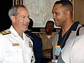 US Navy 040713-N-4729H-014 Rear Admiral Jeffrey Fowler, Commander, Navy Recruiting Command, talks to a delegate at the National Association for the Advancement of Colored People (NAACP) convention in Philadelphia, Pa.jpg
