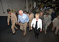 US Navy 050908-N-2954M-001 Commanding Officer, USS Iwo Jima (LHD 7), Capt. Richard S. Callas escorts Vice President Dick Cheney and his wife Lynne during a visit to the ship.jpg