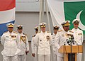 US Navy 060424-N-5863B-093 Pakistan Navy's Vice Chief of Naval Staff, Vice Adm. Mohammad Haroon Hi, addresses the crowd during a change of command ceremony.jpg