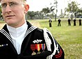 US Navy 070316-N-0553R-002 Builder 2nd Class Thomas Doyle, attached to Naval Mobile Construction Battalion (NMCB) 1, commands the funeral detail as they prepare to participate in a memorial service in Biloxi, Miss.jpg
