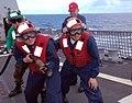 US Navy 090519-N-4047W-027 Damage Control Training Team member Senior Chief Damage Controlman Raul Sanchez supervises a hose team during a flight deck fire drill aboard the Arleigh Burke-class guided-missile destroyer USS Prebl.jpg