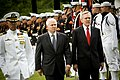 US Navy 090618-N-5549O-140 Secretary of Defense the Honorable Robert Gates, left, and Secretary of the Navy (SECNAV) the Honorable Ray Mabus perform a pass and review during his public swearing in ceremony.jpg