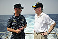 US Navy 090803-N-0506A-250 Cmdr. Christopher Stopyra, commanding officer of the amphibious dock landing ship USS Fort McHenry (LSD 43), speaks with Secretary of the Navy (SECNAV) the Honorable Ray Mabus during a tour of Ft. McH.jpg