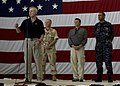 US Navy 090807-N-8655E-074 Secretary of the Navy (SECNAV) Ray Mabus, front, accompanied by Capt. Jack Sotherland, commander of the Bataan Amphibious Ready Group (ARG).jpg