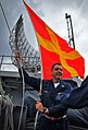 US Navy 100209-N-4774B-064 Senior Chief Quartermaster J.J. Meyers, from Bermudian, Pa., raises a Romeo signal flag aboard the Nimitz-class aircraft carrier USS Carl Vinson (CVN 70).jpg