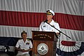 US Navy 100729-N-8273J-308 Chief of Naval Operations (CNO) Adm. Gary Roughead delivers remarks while Rear Adm. Nora Tyson looks on during the Carrier Strike Group (CSG) 2 change of command ceremony.jpg