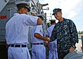 US Navy 110920-N-VP123-009 Capt. Wallace Lovely, deputy commodore of Destroyer Squadron (DESRON) 31, welcomes Bangladesh navy sailors.jpg