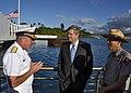US Navy 120110-N-RI884-077 Secretary of Agriculture Tom Vilsack, center, visits the USS Arizona Memorial with Rear Adm. Glenn Robillard, left, and.jpg