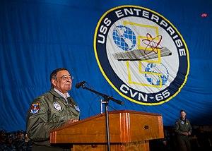 US Navy 120121-N-FI736-297 Secretary of Defense Leon E. Panetta speaks to Sailors in the hangar bay of the aircraft carrier USS Enterprise (CVN 65).jpg