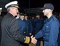 US Navy 120127-N-FO977-812 Vice Adm. Gerald R. Beaman, commander of U. S. 3rd Fleet, congratulates a recruit following a capping ceremony at Recrui.jpg