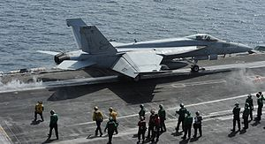 US Navy 120216-N-VO377-349 An F-A-18E Super Hornet assigned to the Kestrels of Strike Fighter Squadron (VFA) 137 launches from the flight deck of t.jpg