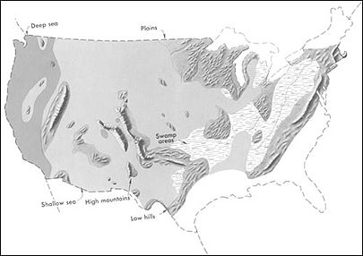 Generalized geographic map of the United States in Middle Pennsylvanian time. US pennsylvanian general USGS.jpg