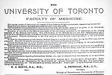 University Of Toronto Faculty Of Medicine Wikipedia