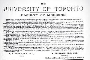 University of Toronto Faculty of Medicine - Recruitment ad from 1906, showing course fees, subjects and other information.