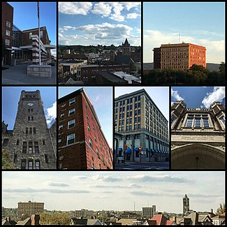 From top left: Uniontown Area High School, Morgantown Street, Fayette Building, Fayette County Courthouse, White Swan Apartments, First Niagara Building, Central School, skyline of Uniontown.