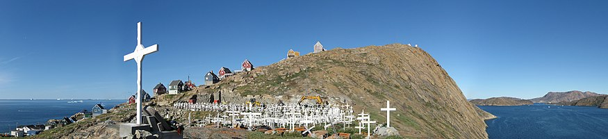 Panorama of Upernavik cemetery, North-West Greenland, August 2007