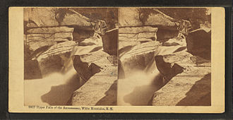 """Ammonoosuc River - """"Upper Falls of the Ammonoosuc, White Mountains, N.H."""" stereoscopic image by the Bierstadt Brothers"""