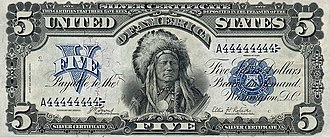 Contemporary Native American issues in the United States - American Indian on five-dollar silver certificate, 1899