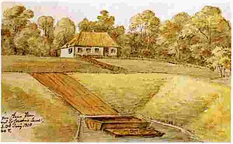 Esrum Å - Væltningen as seen on a watercolour by O.J. Rawert from 1820
