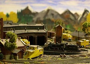 """Z scale - """"Val Ease East"""" division yard scene showing scratch-built Russell snow plow and detailed Mogul on the turntable."""