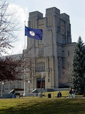 Burruss Hall, signature building on the Virgin...