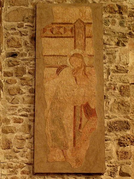 Peintures murales de l'église Saint-Laurent de Vaiges (53). Déposition de Croix.