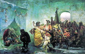 Ice palace - In this 1878 painting by Valery Jacobi, the scared newly-weds sit on the icy bed to the left; the jocular woman in golden dress is Empress Anna herself.