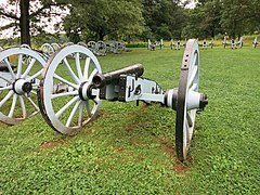 Photo shows replica cannons in the Artillery Park at Valley Forge National Park, Pennsylvania. The Artillery Park is located east of the parking lot on East Inner Line Drive.