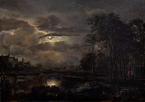 "Aert van der Neer - Moonlit Landscape with Bridge, one of Van Der Neer's ""nocturnes"" (night scenes) (1648-1650); oil on panel; 78.4 x 110.2 cm (30 7/8 x 43 3/8 in.); on display, the National Gallery of Art, Washington D.C."