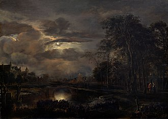 1650 in art - Image: Van der Neer Moonlit Landscape with Bridge