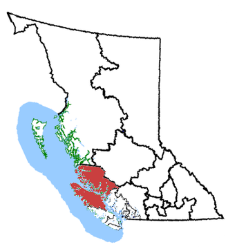 Vancouver Island North - Vancouver Island North in relation to other British Columbia federal electoral districts
