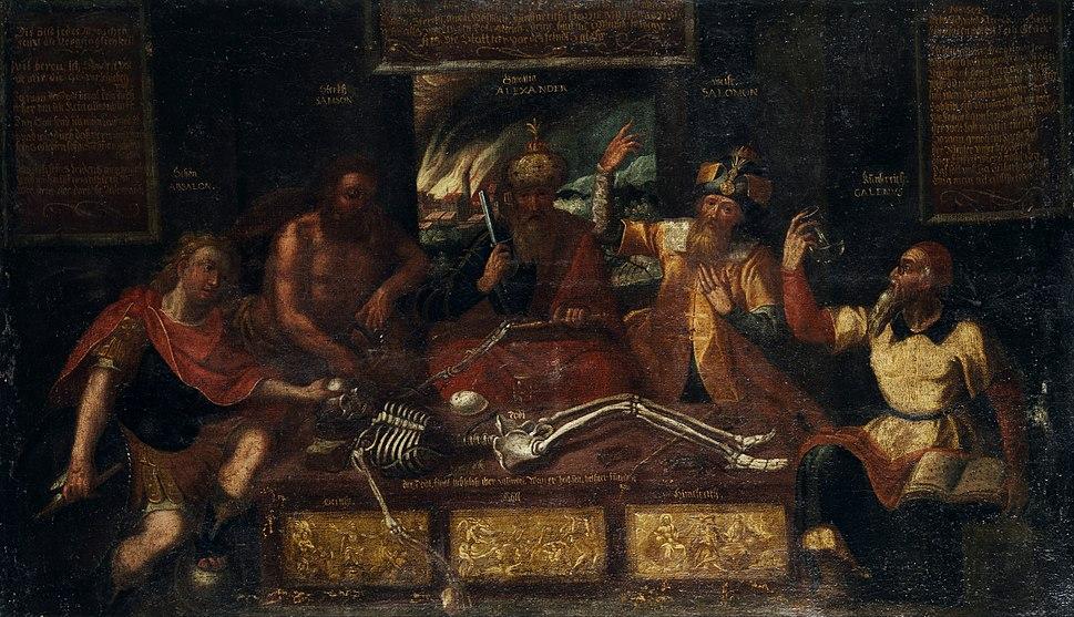 Vanitas-Allegorie Historische Gestalten und Skelett