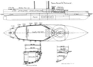 Victoria-class battleship - Starboard elevation, deck plan and sectional views, as shown in Brassey's naval annual 1888–9