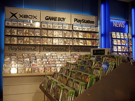 A retail display with a large selection of games for platforms popular in the early 2000s Videogameretaildisplay.jpg