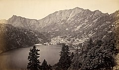 View of Nainital, from the South East (Tallital side), 1865.jpg