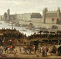 View of Pont Neuf in Paris (detail with the Louvre Palace) by Jean Petit - Louvre 1660s.jpg