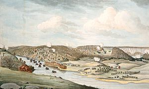 Battle of Fort Washington - A view of the attack against Fort Washington Watercolor by Thomas Davies