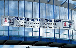 Click It or Ticket - Click It or Ticket-sponsored banner in the U.S. Virgin Islands