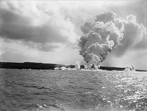 Samoa hotspot - Mt Matavanu eruption on Savai'i island, 1905.