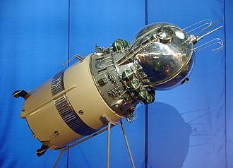 "Vostok 1 - Model of the Vostok spacecraft with its upper stage, on display in Frankfurt Airport's ""Russia in Space"" exhibition"