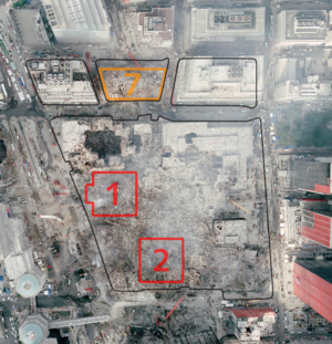 5 World Trade Center - A picture showing the remnants of the World Trade Center complex. The original outline of the entire site can be seen at left.