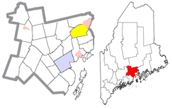 Location of Frankfort (in yellow) in Waldo County and the state of Maine