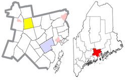 Location of Thorndike (in yellow) in Waldo County and the state of Maine