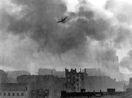 German Stuka Ju 87 bombing Warsaw's Old Town, August 1944 Warsaw Uprising stuka ju-87 bombing Old Town.jpg