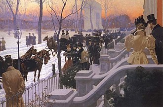 Fernand Lungren - Washington Square, New York, 1897; painting by Fernand Lungren